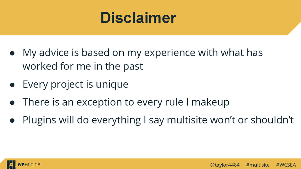@taylor4484 #multisite #WCSEA Disclaimer ● My a...