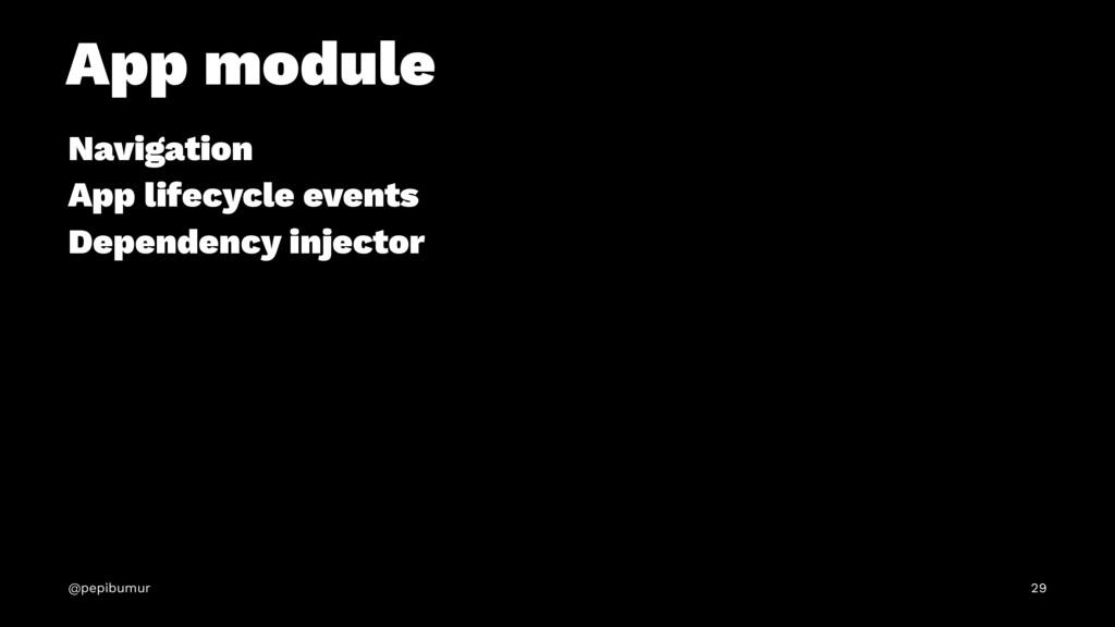 App module Navigation App lifecycle events Depe...