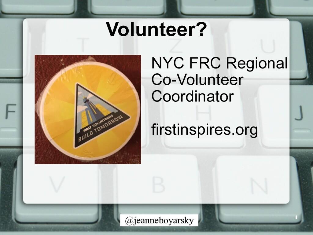 @jeanneboyarsky Volunteer? 4 NYC FRC Regional C...