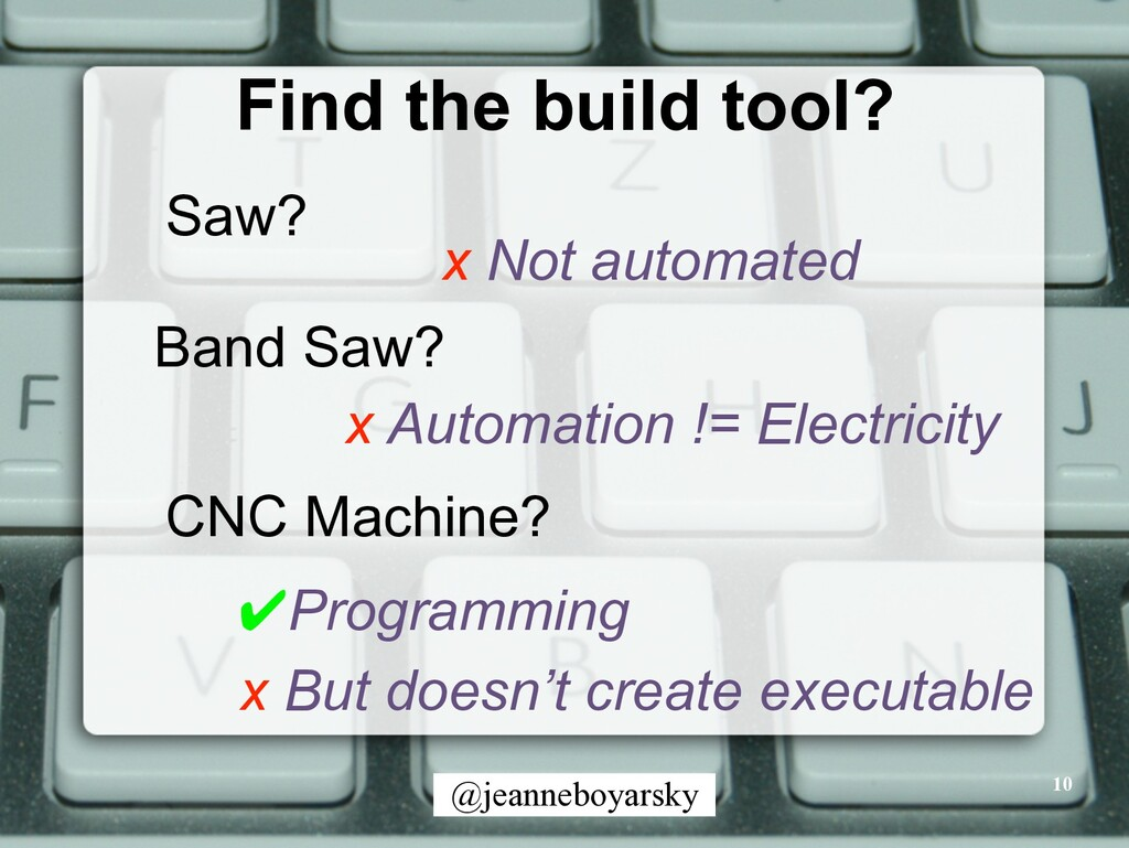 @jeanneboyarsky Find the build tool? 10 Saw? Ba...