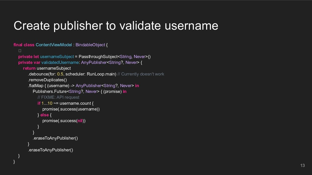 Create publisher to validate username final cla...