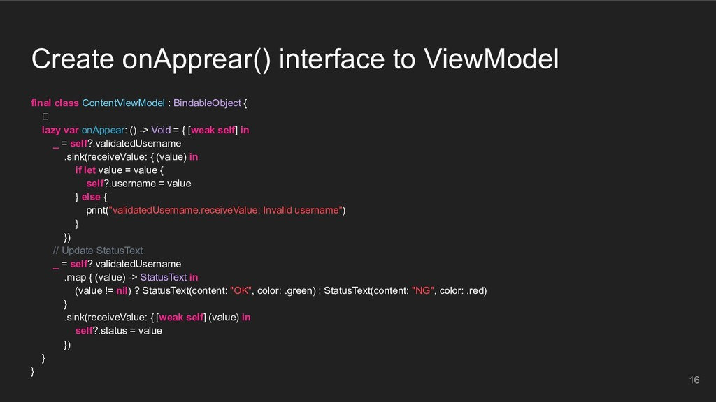 Create onApprear() interface to ViewModel final...