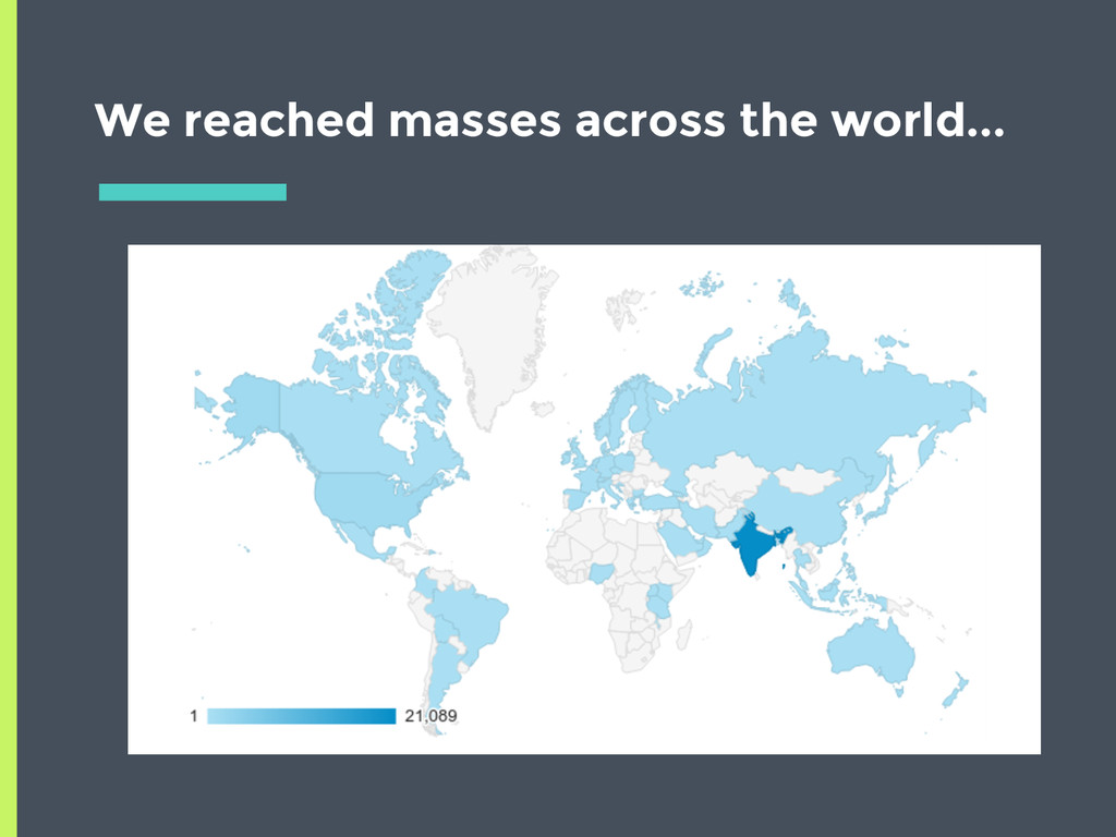 We reached masses across the world...