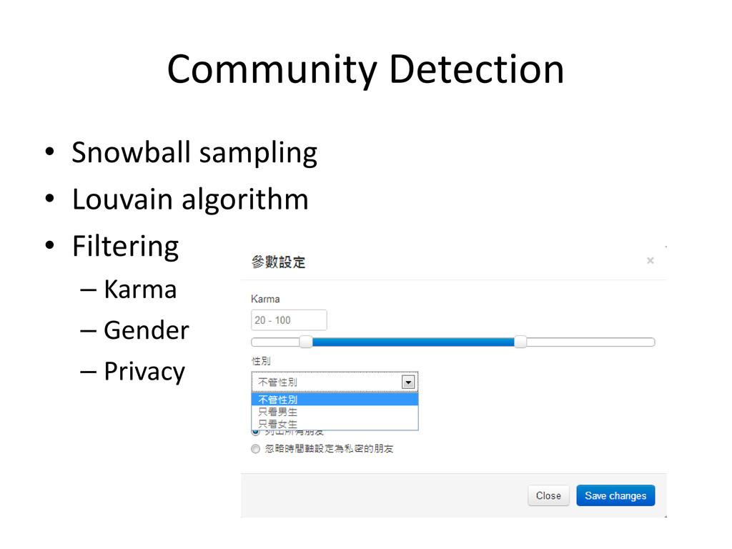 Community Detection • Snowball sampling • Louva...