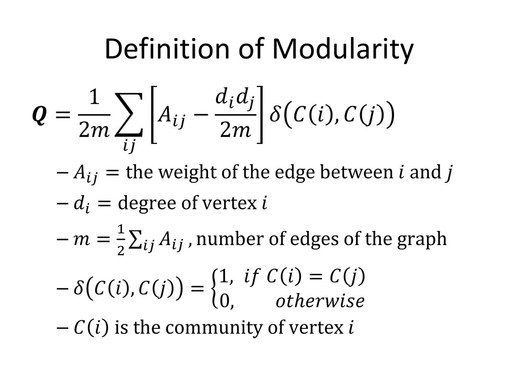 Definition of Modularity  = 1 2 �  −  𝑗𝑗 2    ,...