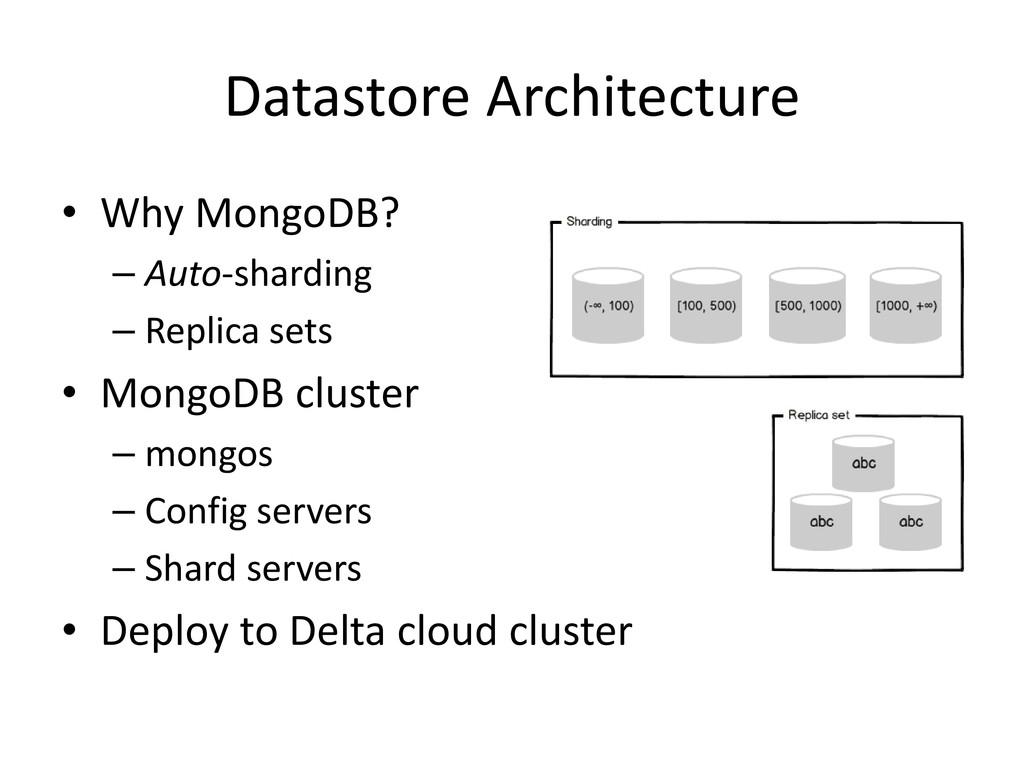 Datastore Architecture • Why MongoDB? – Auto-sh...