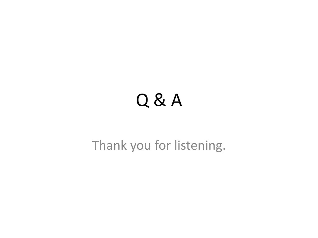 Q & A Thank you for listening.