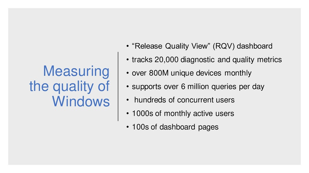 "Measuring the quality of Windows • ""Release Qua..."
