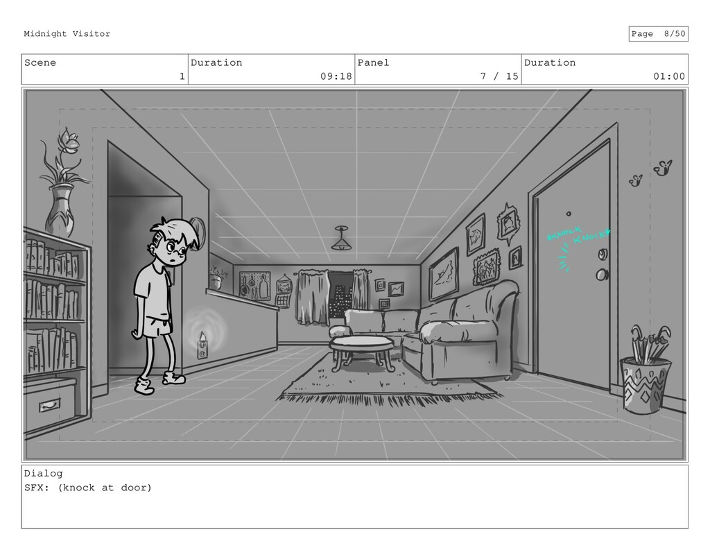 Scene 1 Duration 09:18 Panel 7 / 15 Duration 01...