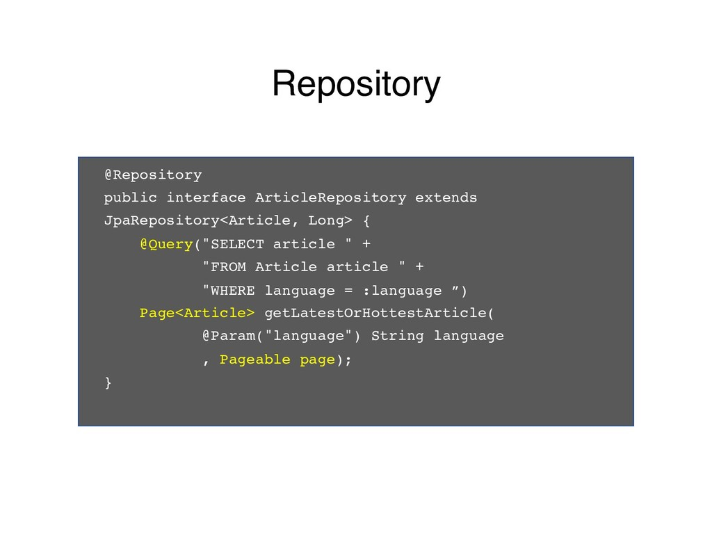 @Repository public interface ArticleRepository ...