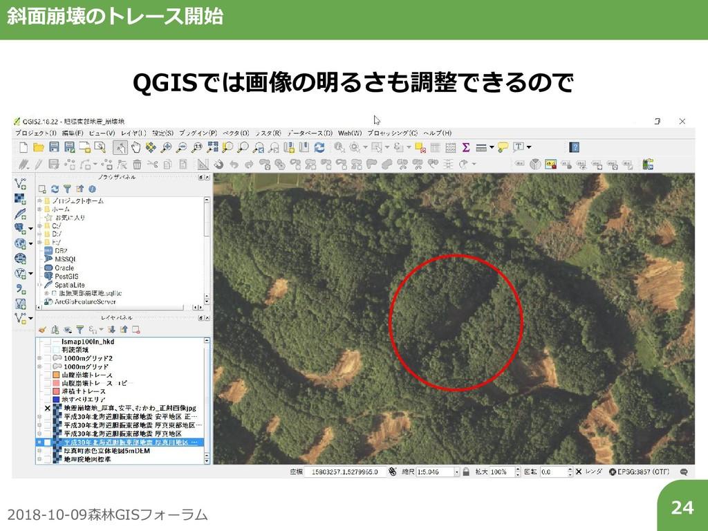 2018-10-09森林GISフォーラム 24 斜面崩壊のトレース開始 QGISでは画像の明る...