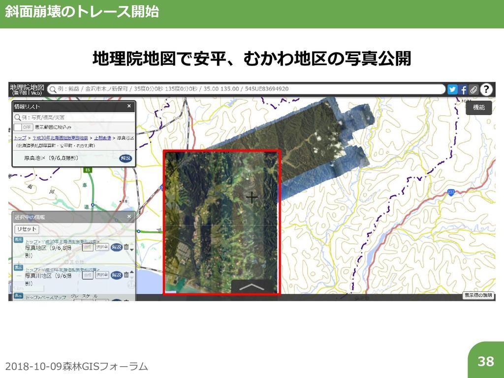 2018-10-09森林GISフォーラム 38 斜面崩壊のトレース開始 地理院地図で安平、むか...