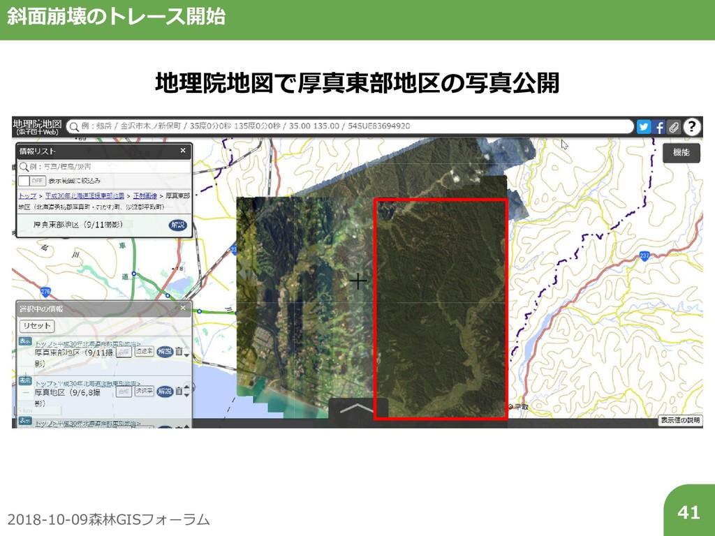 2018-10-09森林GISフォーラム 41 斜面崩壊のトレース開始 地理院地図で厚真東部地...