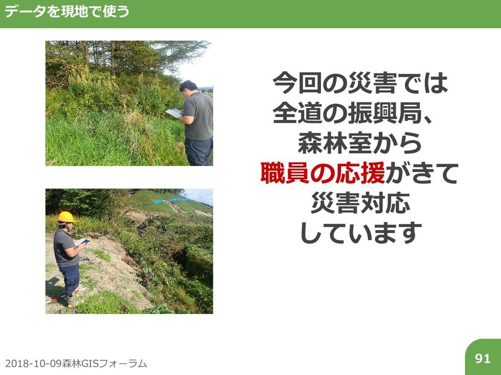 2018-10-09森林GISフォーラム 91 データを現地で使う 今回の災害では 全道の振興...