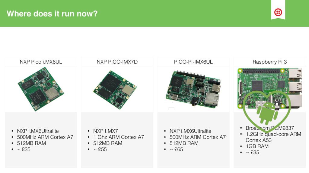 Where does it run now? • NXP i.MX6Ultralite • 5...