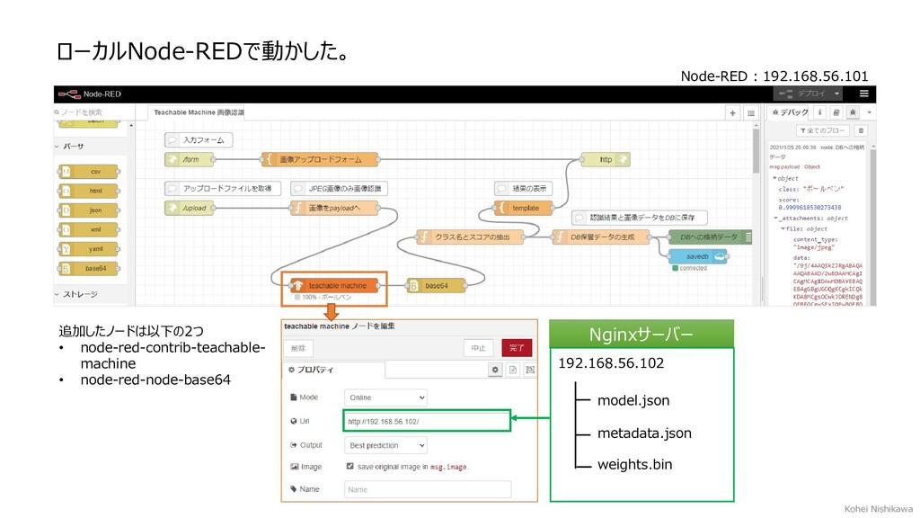 ローカルNode-REDで動かした。 Nginxサーバー 192.168.56.102 mod...