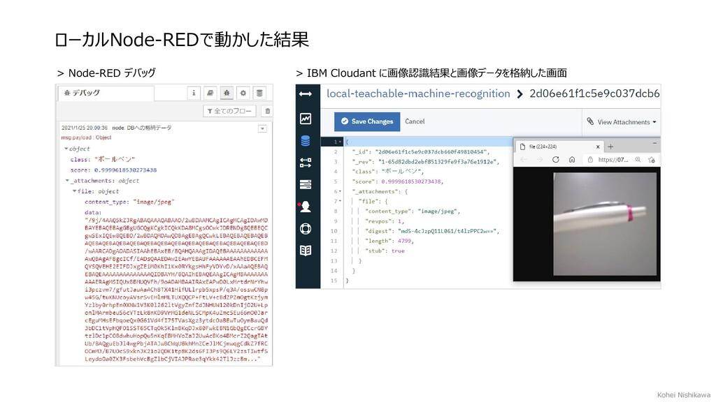 ローカルNode-REDで動かした結果 > Node-RED デバッグ > IBM Cloud...