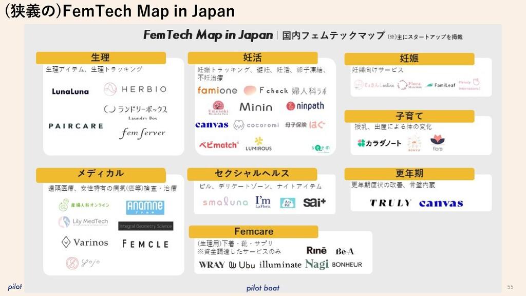 55 (狭義の)FemTech Map in Japan