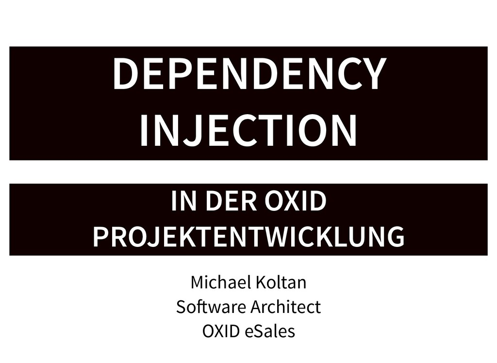 DEPENDENCY DEPENDENCY INJECTION INJECTION IN DE...