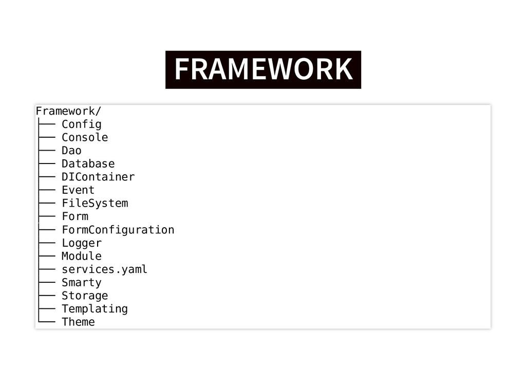 FRAMEWORK FRAMEWORK Framework/ ├── Config ├── C...