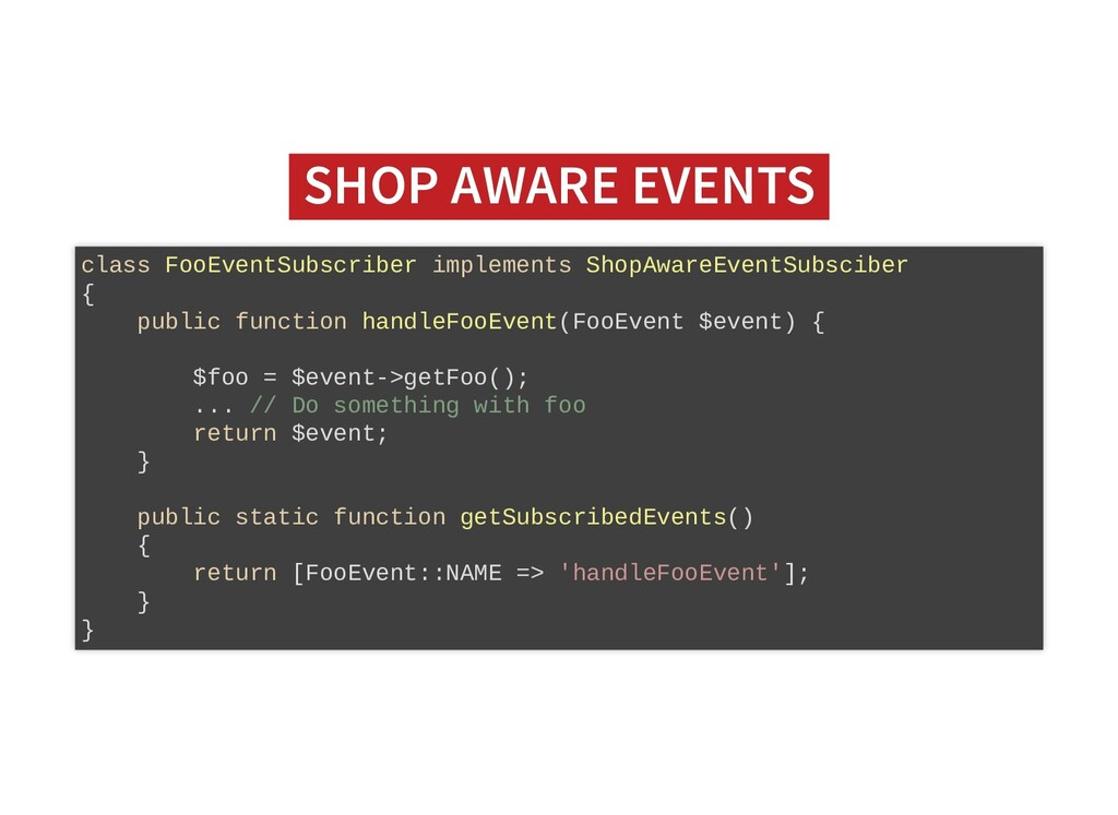 SHOP AWARE EVENTS SHOP AWARE EVENTS class FooEv...