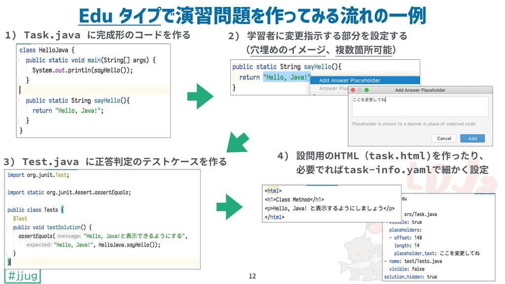 #jjug Edu タイプで演習問題を作ってみる流れの一例 1) Task.java に完成形...