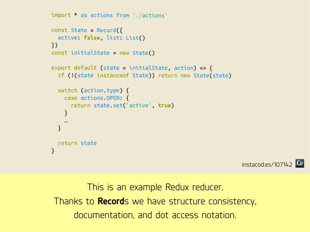 This is an example Redux reducer. Thanks to Rec...