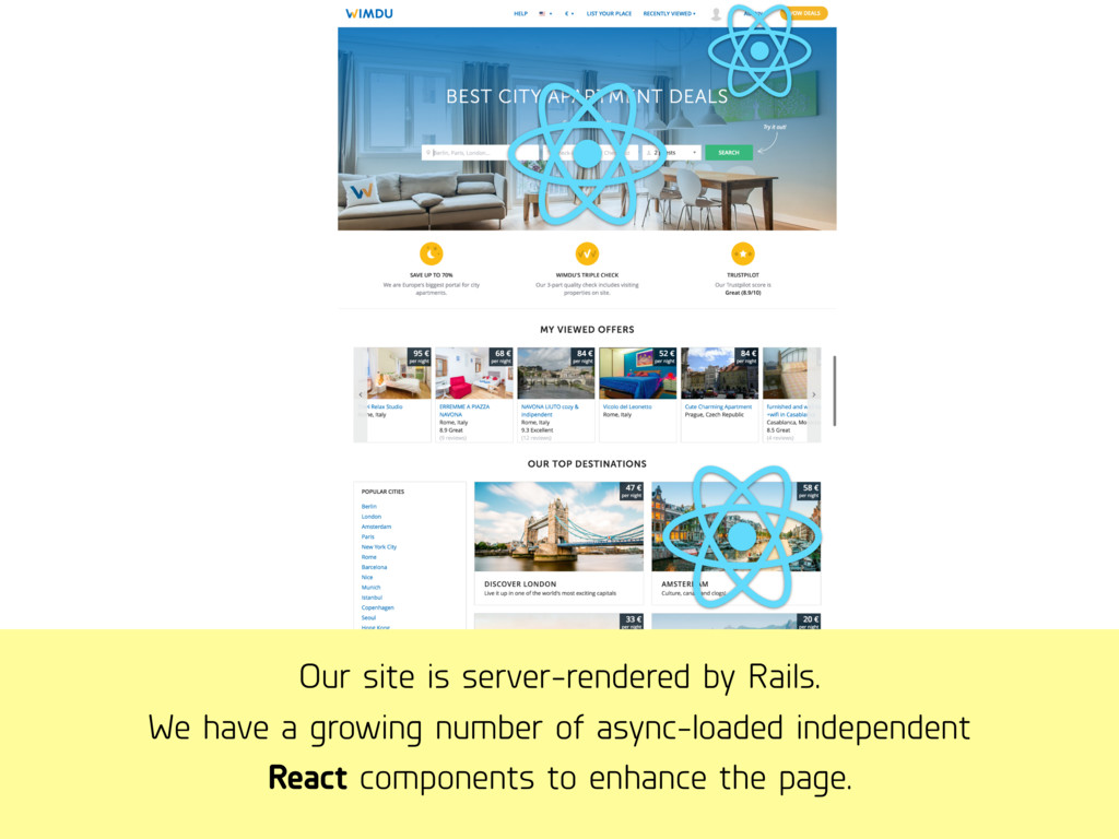 Our site is server-rendered by Rails. We have a...