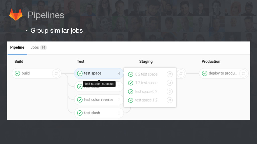 Pipelines • Group similar jobs