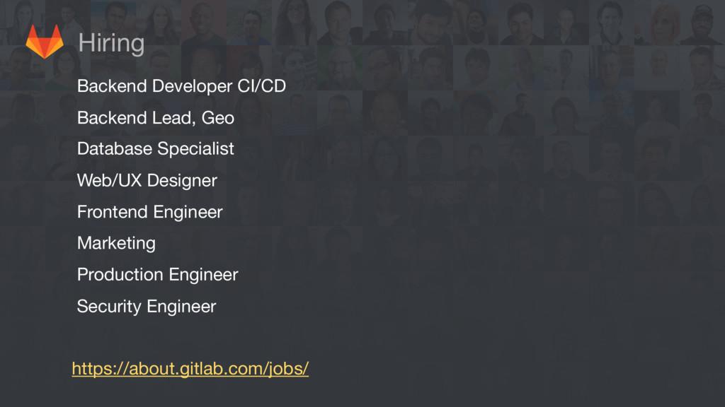 Hiring Backend Developer CI/CD  Backend Lead, G...