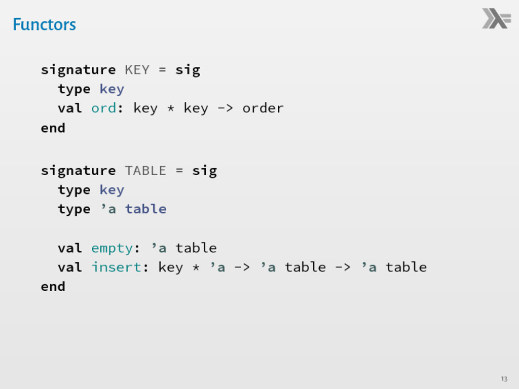 Functors signature KEY = sig type key val ord: ...