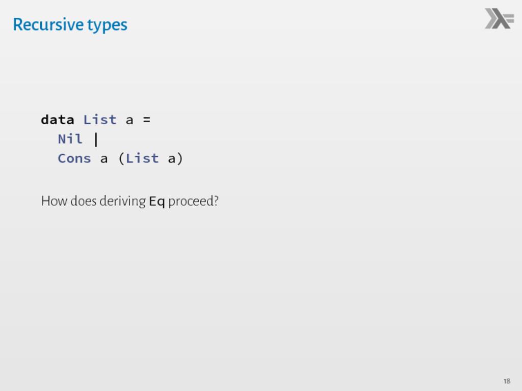 Recursive types data List a = Nil   Cons a (Lis...