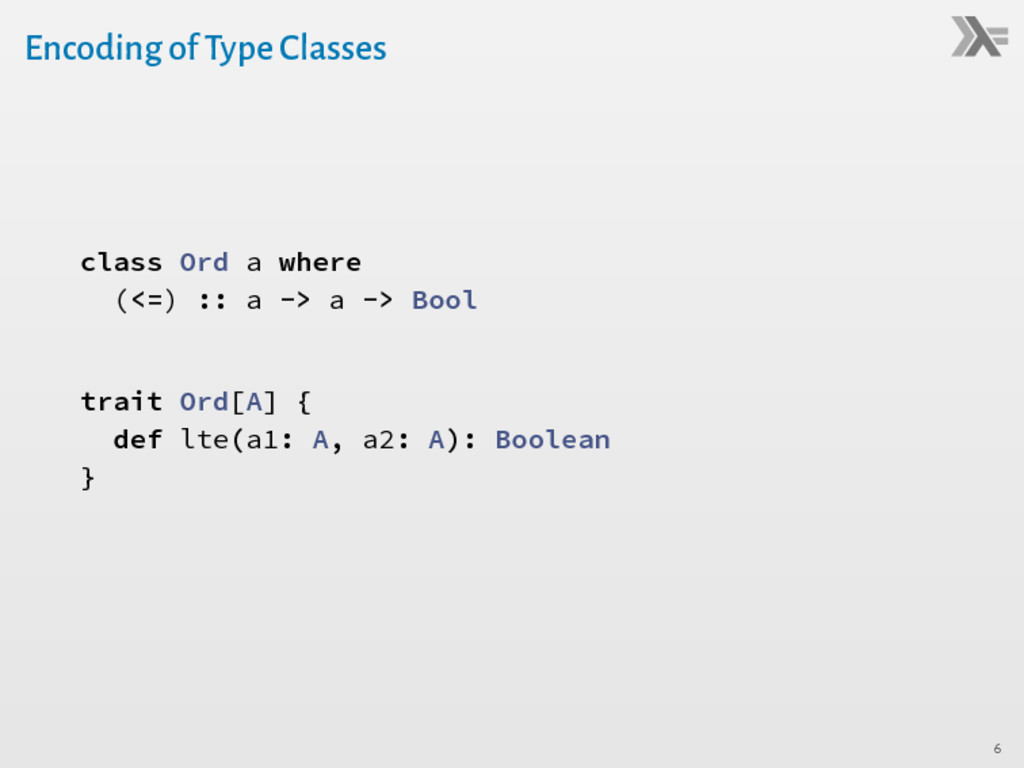 Encoding of Type Classes class Ord a where (<=)...