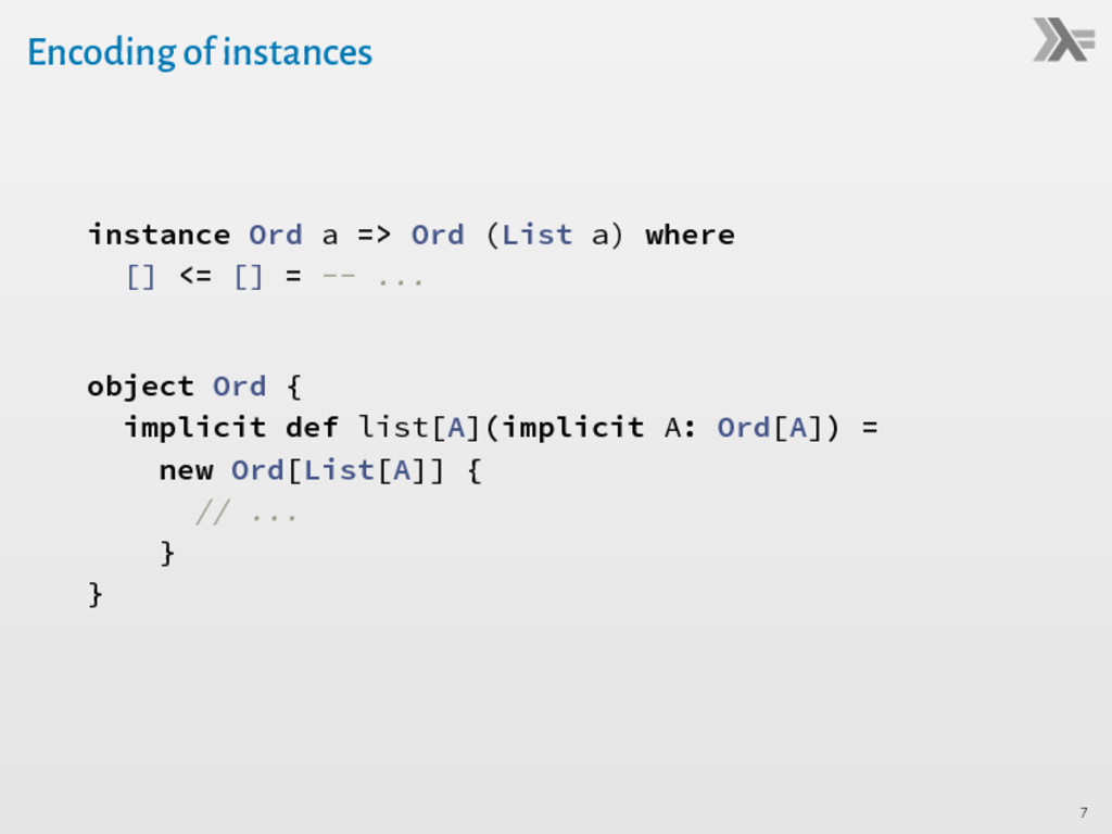 Encoding of instances instance Ord a => Ord (Li...