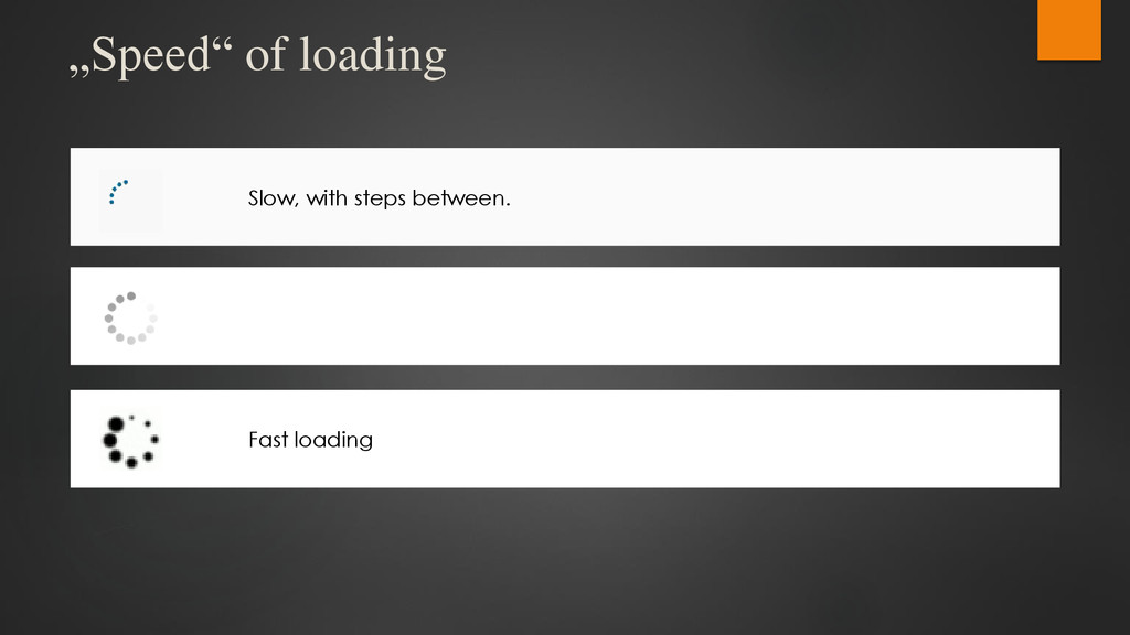 """""""Speed"""" of loading Slow, with steps between. Fa..."""