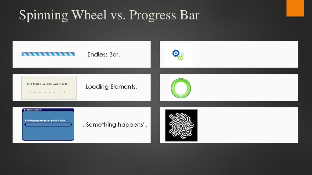 Spinning Wheel vs. Progress Bar Endless Bar. Lo...