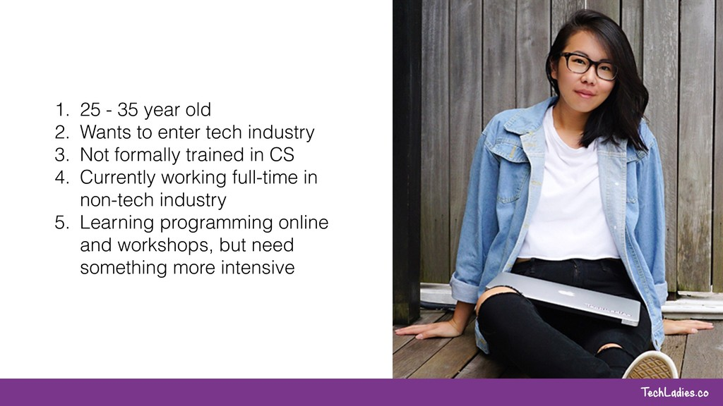 TechLadies.co 1. 25 - 35 year old 2. Wants to e...