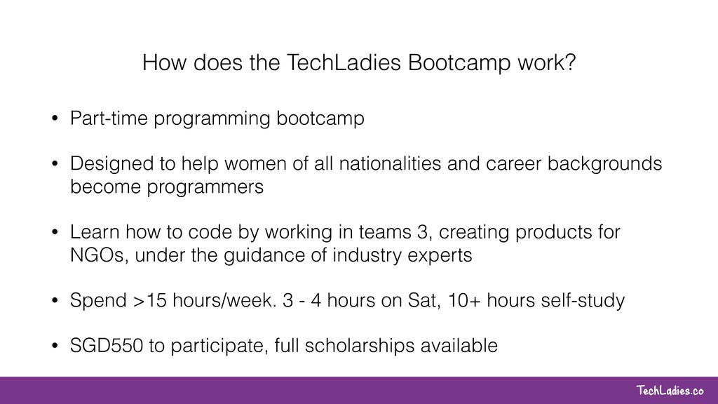 TechLadies.co How does the TechLadies Bootcamp ...
