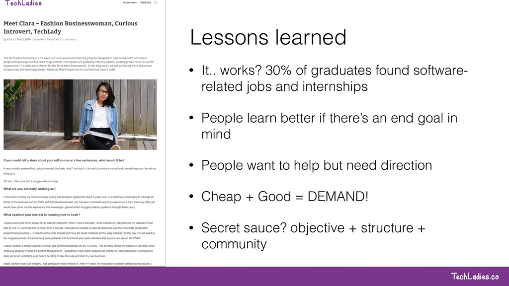 TechLadies.co Lessons learned • It.. works? 30%...