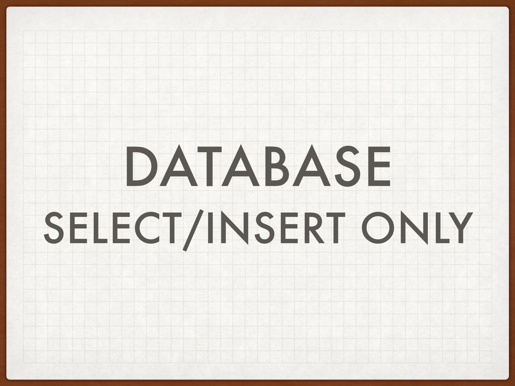 DATABASE SELECT/INSERT ONLY