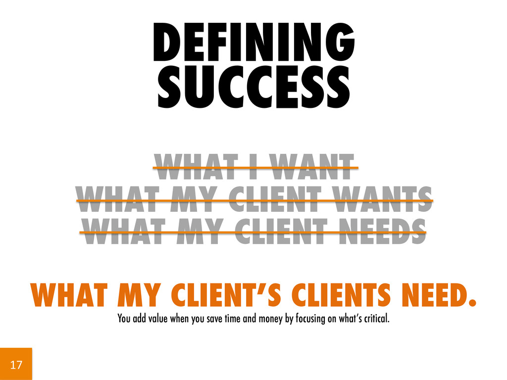 DEFINING SUCCESS WHAT I WANT WHAT MY CLIENT WAN...