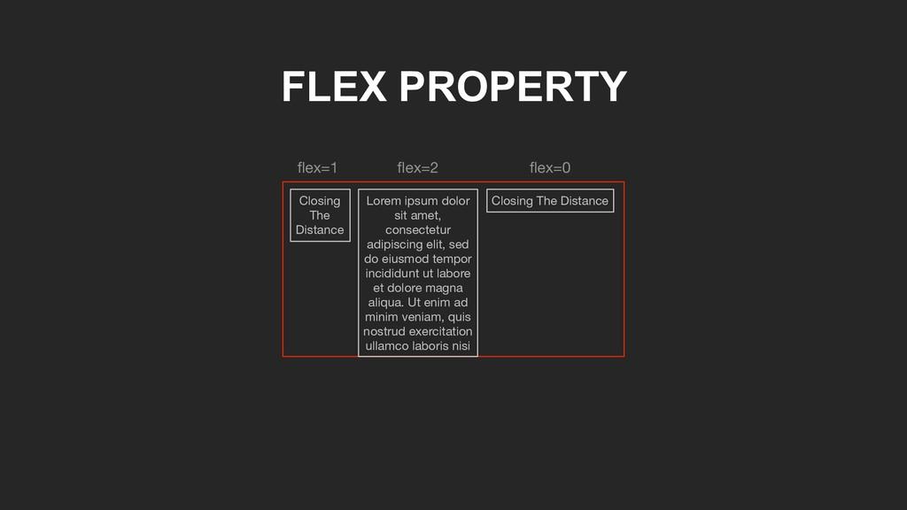 FLEX PROPERTY Closing The Distance flex=1 flex=2 ...