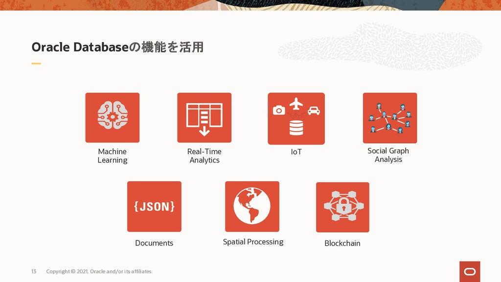 Oracle Databaseの機能を活用 13 Copyright © 2021, Orac...