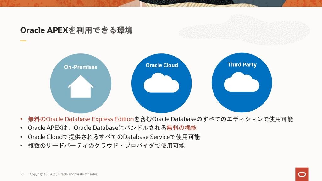 Oracle APEXを利用できる環境 • 無料のOracle Database Expres...