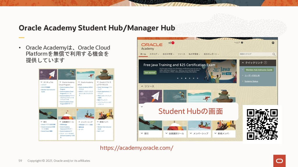 Oracle Academy Student Hub/Manager Hub 59 Copyr...