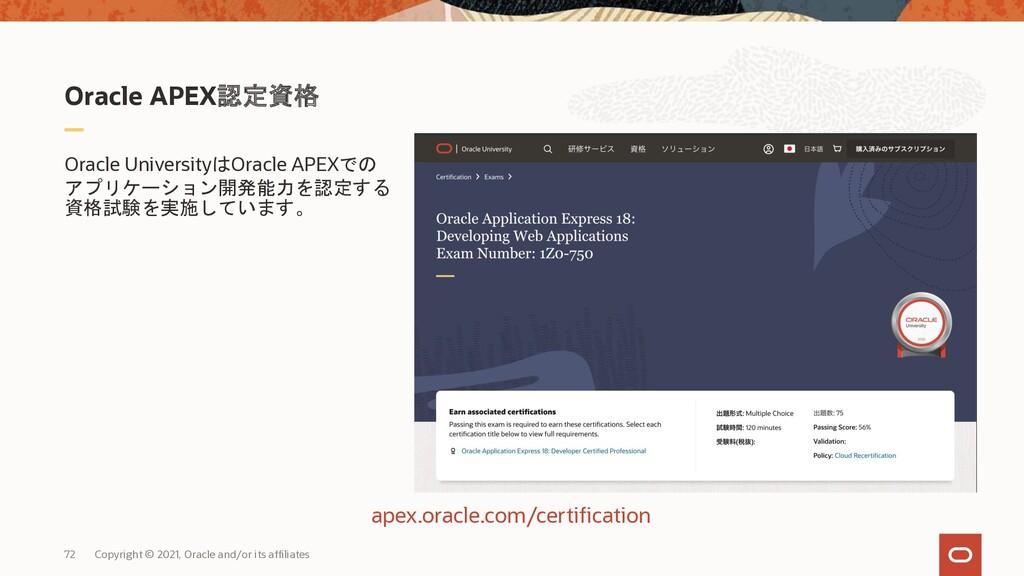 Oracle APEX認定資格 Oracle UniversityはOracle APEXでの...