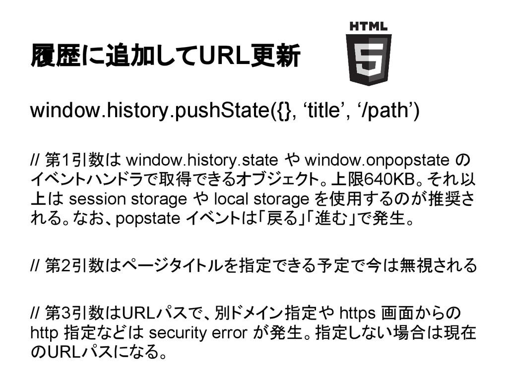 履歴に追加してURL更新 window.history.pushState({}, 'titl...