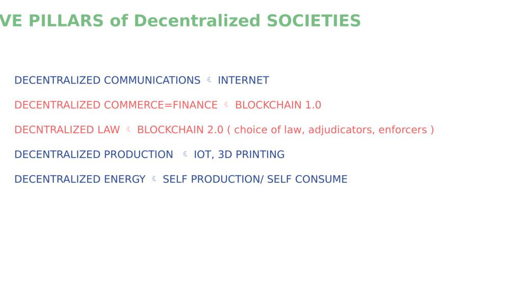 VE PILLARS of Decentralized SOCIETIES DECENTRAL...