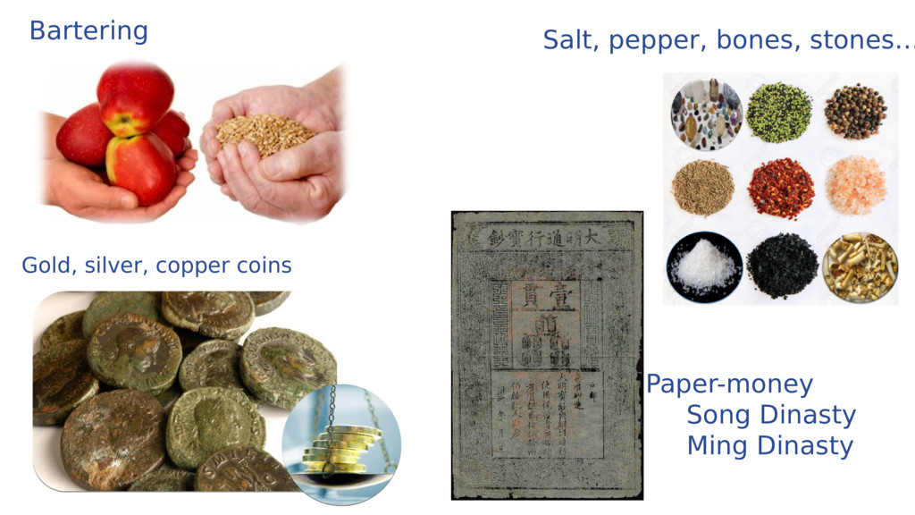 Bartering Gold, silver, copper coins Paper-mone...