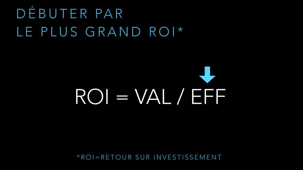 ROI = VAL / EFF D É B U T E R PA R  L E P L U ...
